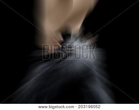 U turn shot with motion blur effect.