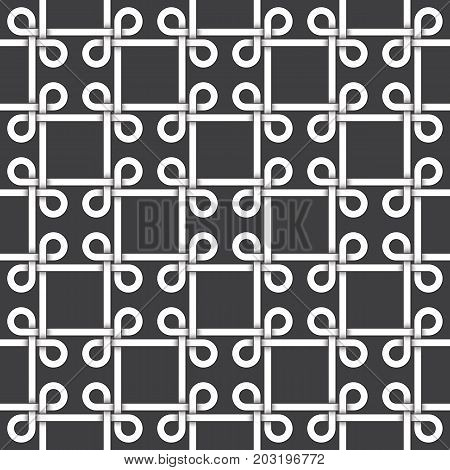 Abstract repeatable pattern background of white twisted strips bands with black strokes. Swatch of intertwined bands in squares form with loops. Seamless pattern in vintage style.