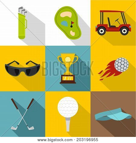 Golf related icon set. Flat style set of 9 golf related vector icons for web design