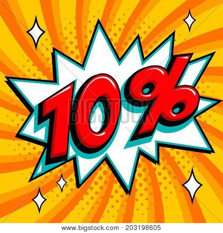 Orange sale web banner. Sale ten percent 10 off on a Comics pop-art style bang shape on orange twisted background. Big sale background. Pop art comic sale discount promotion banner. Seasonal discounts, Black Friday, the interest rate, etc. Perfect for tag
