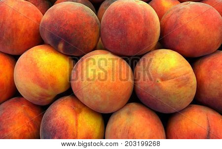 A Beautiful Pile Of fresh Necterines ready to Buy and eat