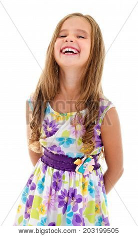 Adorable happy smiling little girl child in princess dress isolated on a white