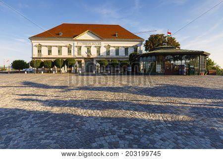 BUDAPEST, HUNGARY - AUGUST 03, 2017: Morning view of Sandor Palace, the official seat of Hungarian President on August 03, 2017.