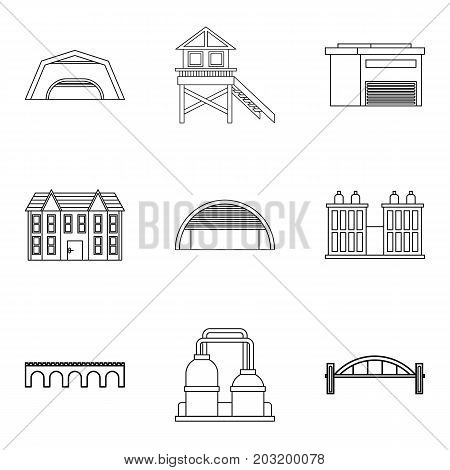 Facade icons set. Outline set of 9 facade vector icons for web isolated on white background