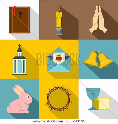Holy Easter icon set. Flat style set of 9 Holy Easter vector icons for web design