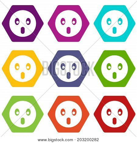 Frightened emoticon set many color hexahedron isolated on white vector illustration