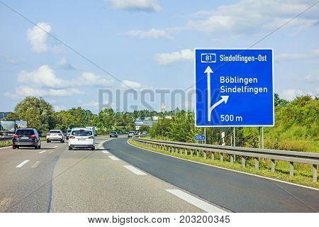 Freeway Road Sign On Autobahn A81, Boeblingen / Sindelfingen