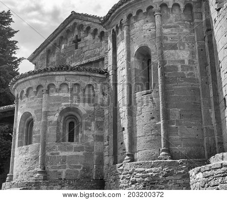 Castell'Arquato (Piacenza Emilia Romagna Italy) apse of the historic Santa Maria church. Black and white