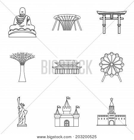 Tourist place icons set. Outline set of 9 tourist place vector icons for web isolated on white background