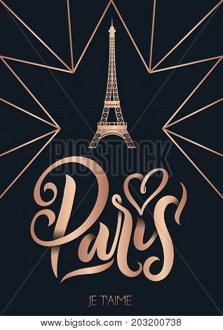 Paris France poster or greetimg card with lettering. Modern rose gold calligraphy with geometric background. Travel card or souvenir template. Vector illustration