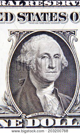 George Washington on American one dollar banknote