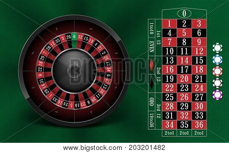 Casino Gambling background design with realistic Roulette Wheel and Casino Chips. Roulette table isolated on green background. Vector illustration EPS 10.