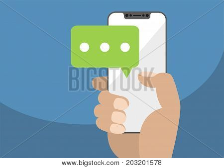 Vector illustration of hand holding bezel-free / frameless modern smartphone with chat icon to symbolize mobile chatting and conversations