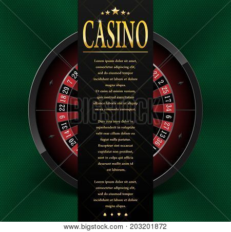 Casino poster or flyer design. Casino banner template with Roulette Wheel isolated on green background. Playing casino games. Vector illustration EPS 10.