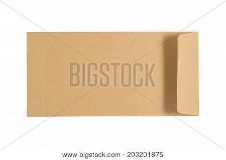 Pearl Brown Envelope Isolated On A White Background. Clipping Paths Included.