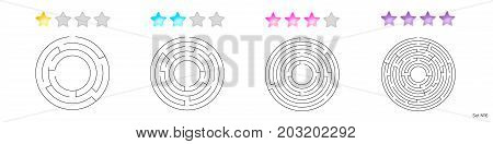 Vector Illustration Of Set Of 4 Circular Mazes For Kids At Diffe