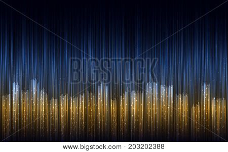 Vector background. Abstract night city illustration with lines. Big city image background. Night lights.