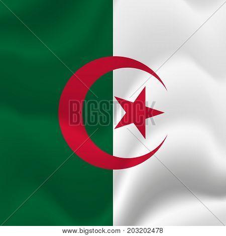 Algeria waving flag. Waving flag. Vector illustration.
