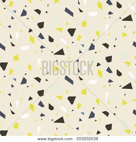 Seamless terrazzo floor rock vector pattern. Repeating granite stone texture design for interior and tile in beige sand colors.