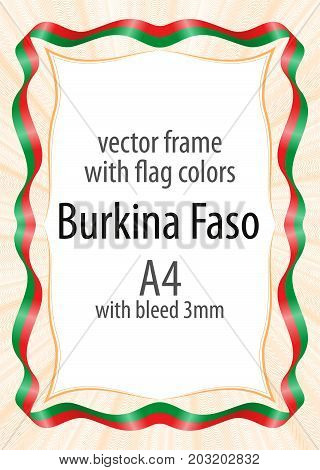 Frame and border of ribbon with the colors of the Burkina Faso flag