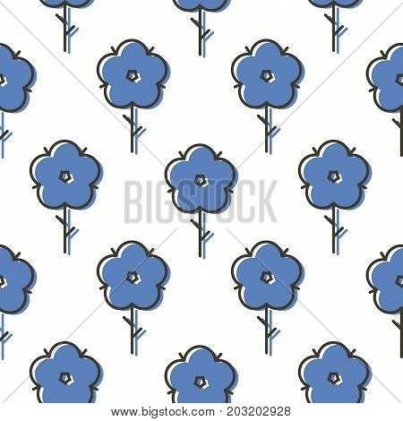 Geometric blue scandinavian style flower seamless simple bold vector pattern. Geometry florals texture background.