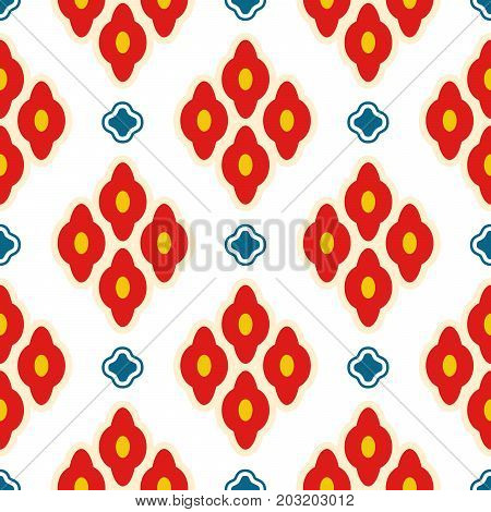 Bright red ottoman rhombuses repeat vector pattern. Bold fabric background ornament in eastern inspired style.