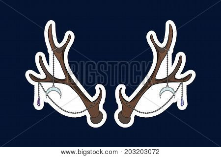 Sticker with horns and silver chains, jewelry, stones. Vector illustration. Illustration for print on T-Shirts or cover for phone.
