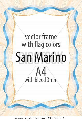 Frame and border of ribbon with the colors of the San Marino flag