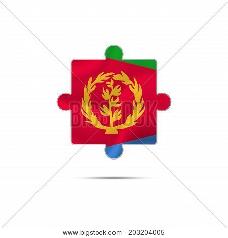 Isolated piece of puzzle with the Eritrea flag. Vector illustration.