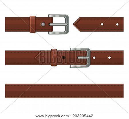Seamless Brown Leather Belts Set. Vector illustration