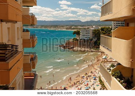Seaside resort. View from the balcony. Spain. View of the sea and the beach from the hotel balcony