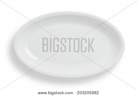 Empty White Oval Plate On White Background, Clipping Path Included.