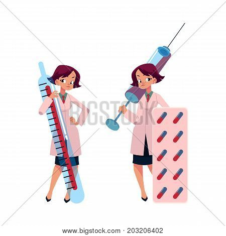 Young woman doctor holding huge thermometer, syringe and pills, cartoon vector illustration isolated on white background. Cartoon woman doctor with huge medical objects - thermometer, syringe, pills