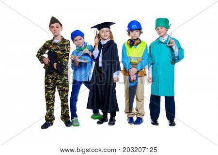 Different professions. A group of children dressed in costumes of different professions. Isolated over white.