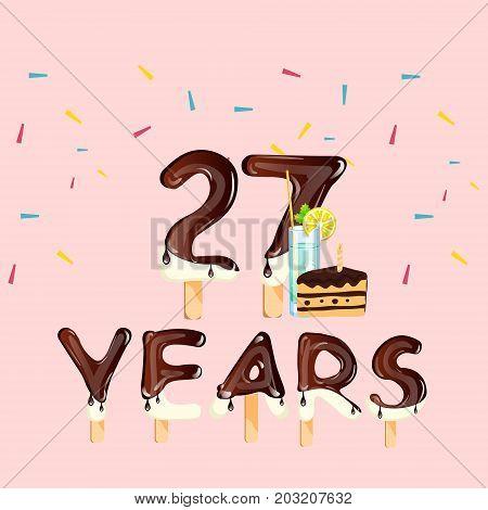 Happy birthday twenty seven years. Vector illustration