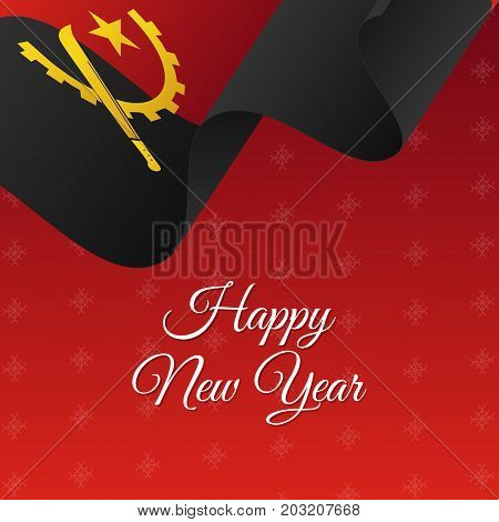 Happy New Year banner. Angola waving flag. Snowflakes background. Vector illustration.