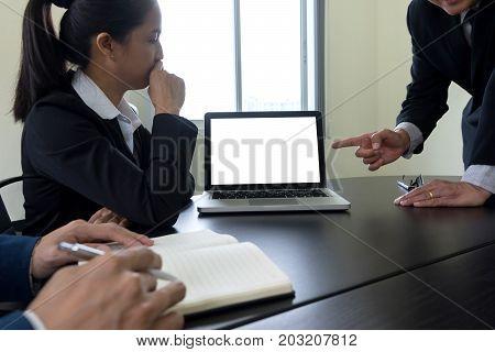Businessman And Businesswoman Team Working Present Data