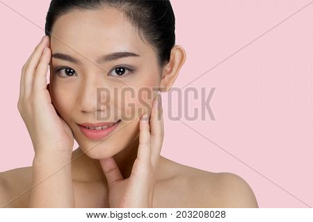 Beautiful Asia Woman Face Concept Beauty Skin Care .