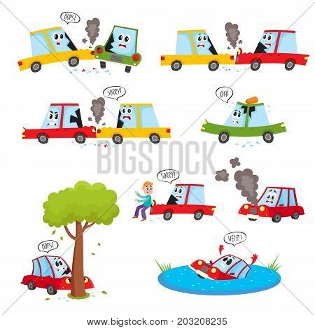 Funny car characters - accident, crash, collision, fender bender, cartoon vector illustration isolated on white background. Cartoon car character set - road accident, crash, collision, break, drown