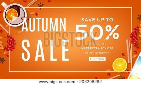 Web banner for autumn sale. Top view on composition with cup of mulled wine, rowan, cinnamon sticks on orange background. Vector illustration.