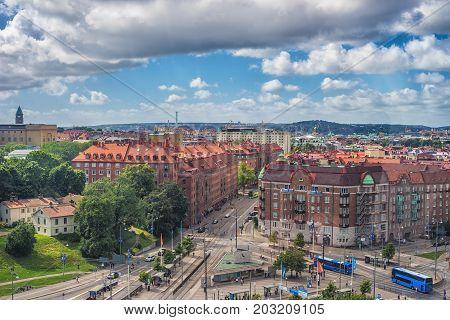 Goteborg Sweden - July 2017: Gothenburg city overview from the ferris wheel in the center