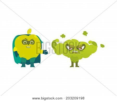 Apple and broccoli hero, superhero characters, guards, defendors, flat style cartoon vector illustrations isolated on white background. Apple and broccoli characters in hero, superhero costumes