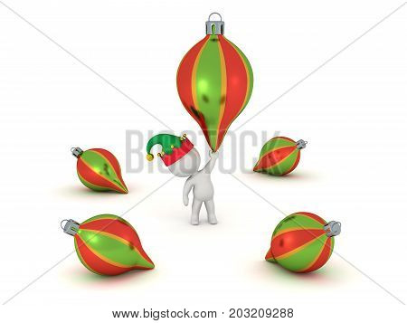 3D character with a few colorful globes. Isolated on white background.