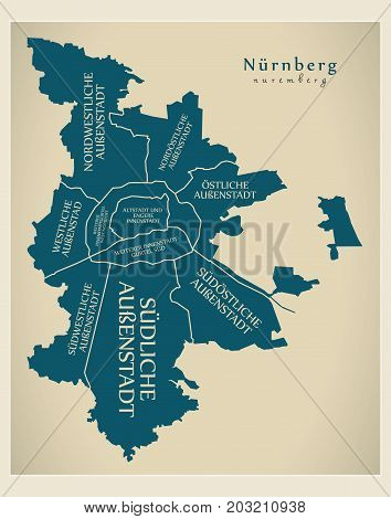 Modern City Map - Nuremberg City Of Germany With Boroughs And Titles De