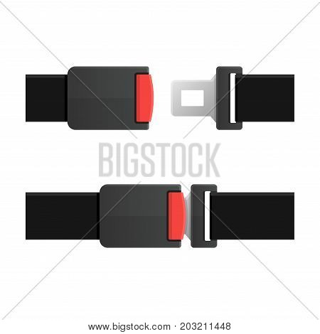 Seatbelt. Open and Closed Set. Vector illustration