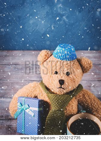 Christmas Background With Teddy Bear. Father's Day. Snow