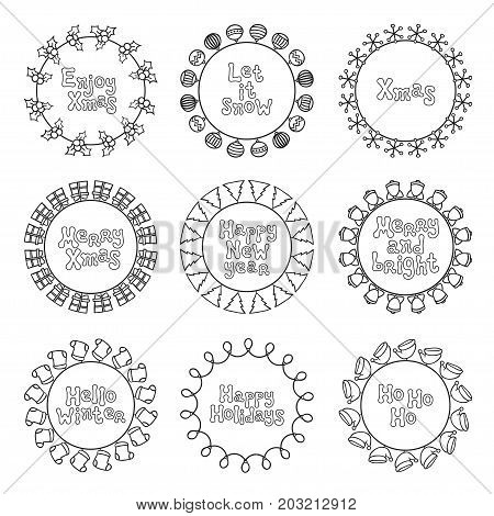 Merry Christmas New Year wishes labels stickers and badges. Hand drawn framework frame. Calligraphy phrase. Handwritten lettering. Xmas phrase set. Holidays. Greeting text. Christmas calligraphy