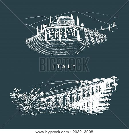 Italian landscapes set with roman aqueduct and Tuscany villa. Vector hand sketched illustration of Italy sights. European touristic symbols.