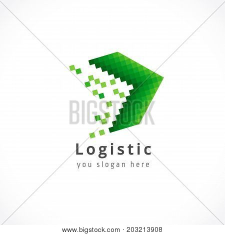 Logistic green arrow company logo. Delivery fast service vector icon. Web digital marketing, network pixel art logo