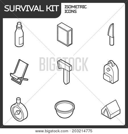 Survival kit outline isometric icons. Vector illustration, EPS 10